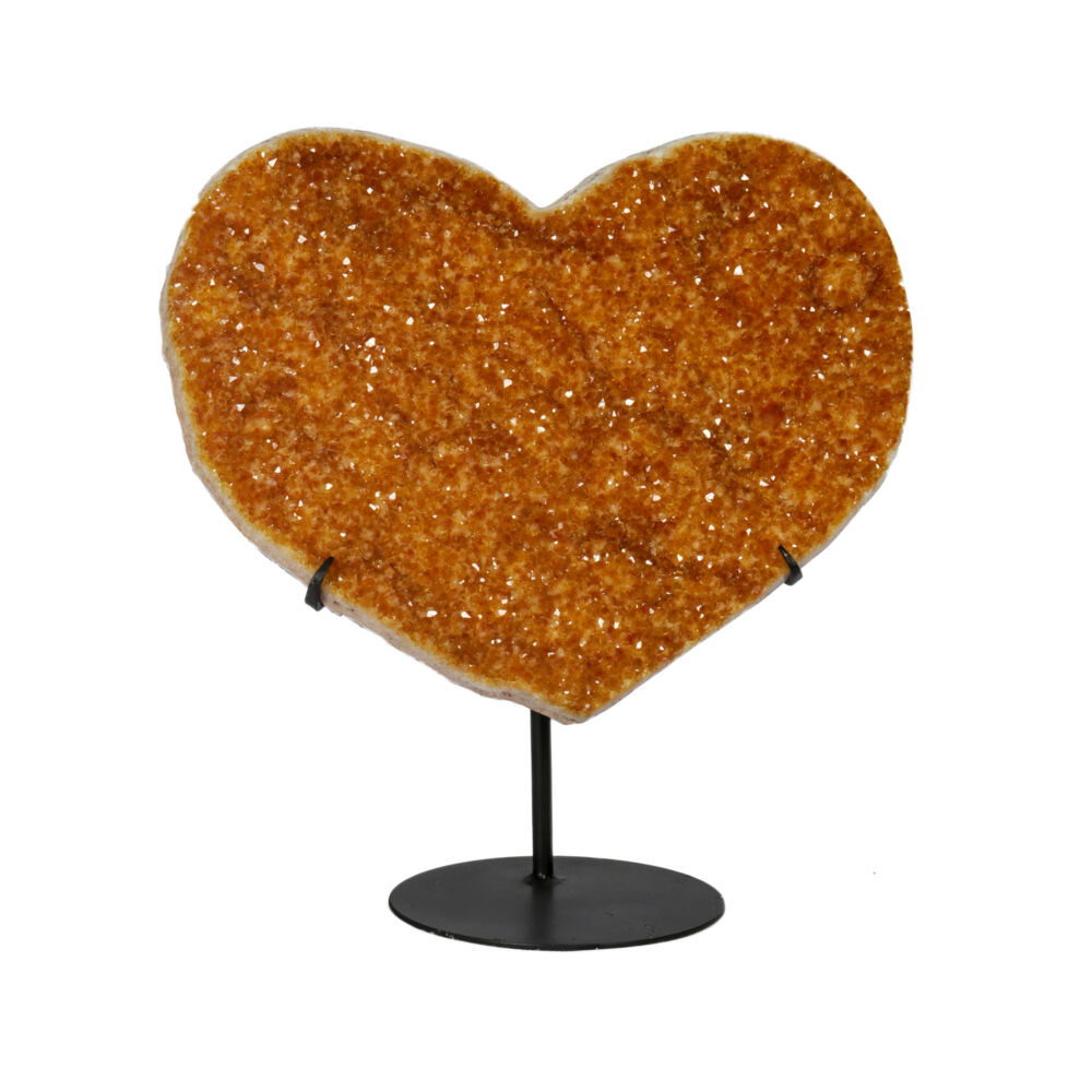 Citrine Druze Heart On Fitted Stand