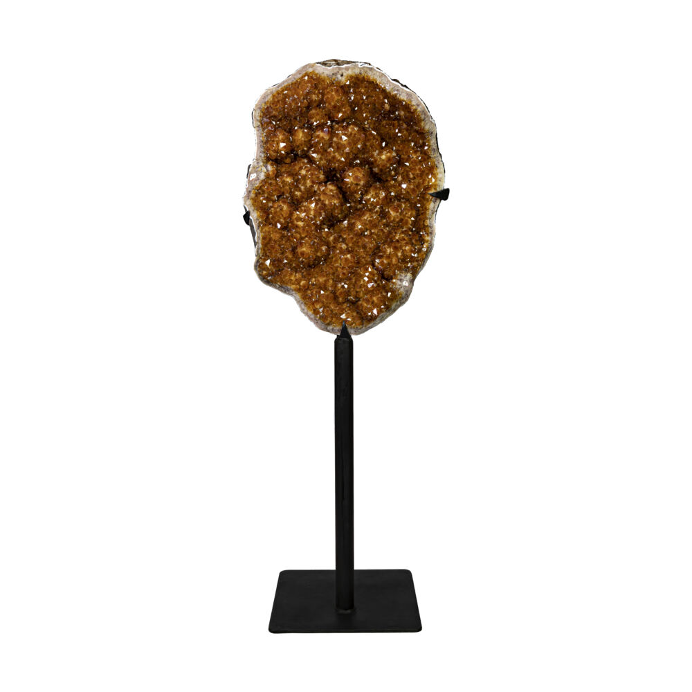 "Citrine Geode With Large Crystals & Stalactite Bulbs On Fitted Black Stand With 16"" Square Base"