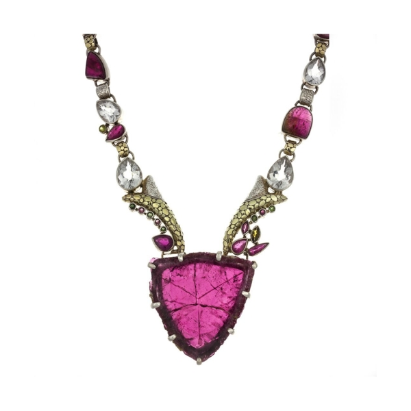 Closeup photo of Pink Tourmaline Necklace With Cross Section Crystal Slice