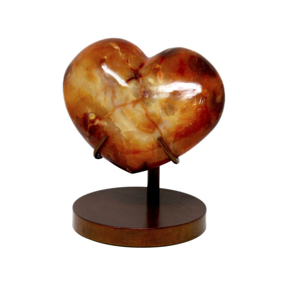 Closeup photo of Carnelian Heart In Custom Stand
