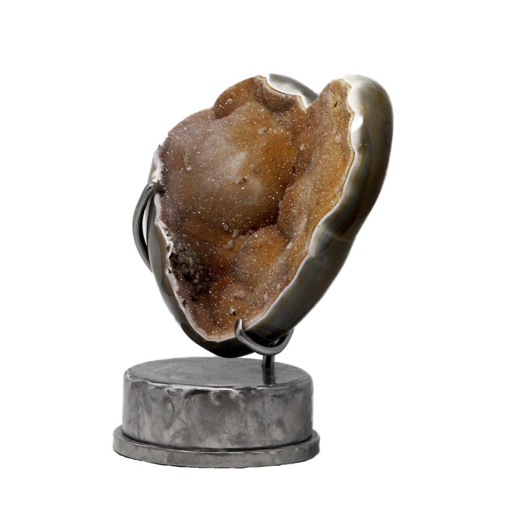 Peach Druze Heart In Custom Stand