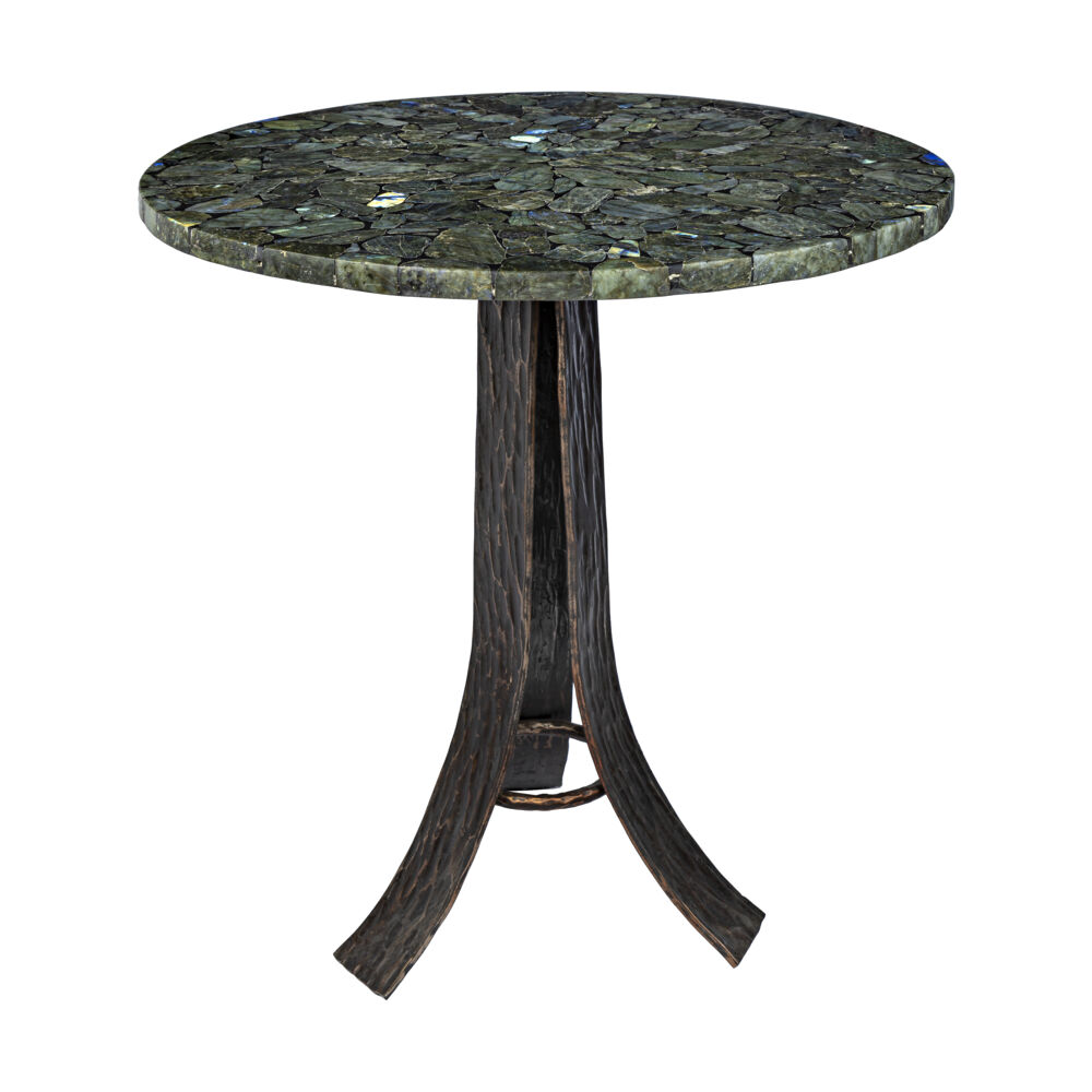 Labradorite Mosaic Round Table with Hand Forged Tri-leg Base