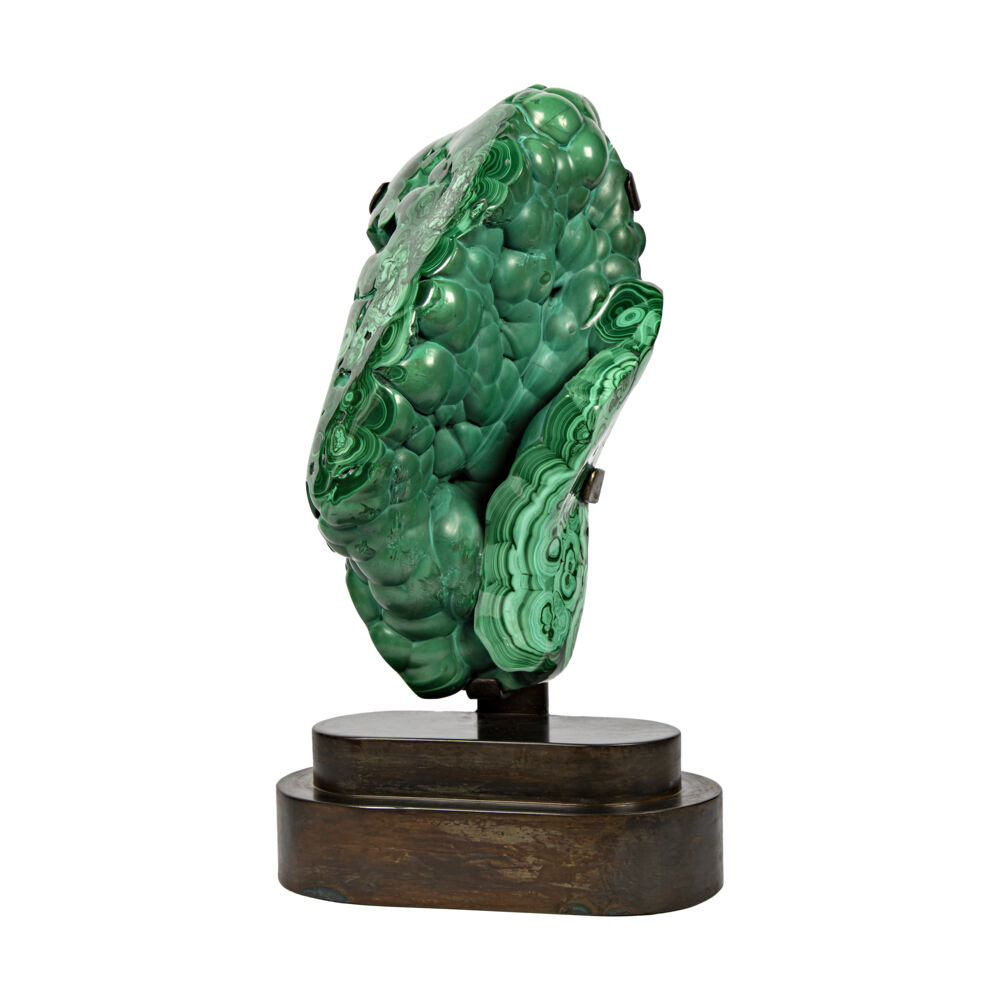 Malachite On Custom Stand -Partial Polished From Congo