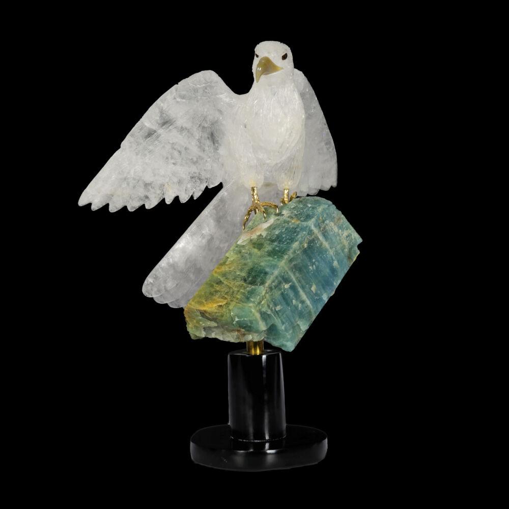 Image 2 for Quartz Falcon On Aqaumarine Crystal Spinning Base