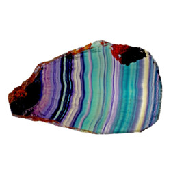 Closeup photo of Rainbow Fluorite Slice With Natural Edge