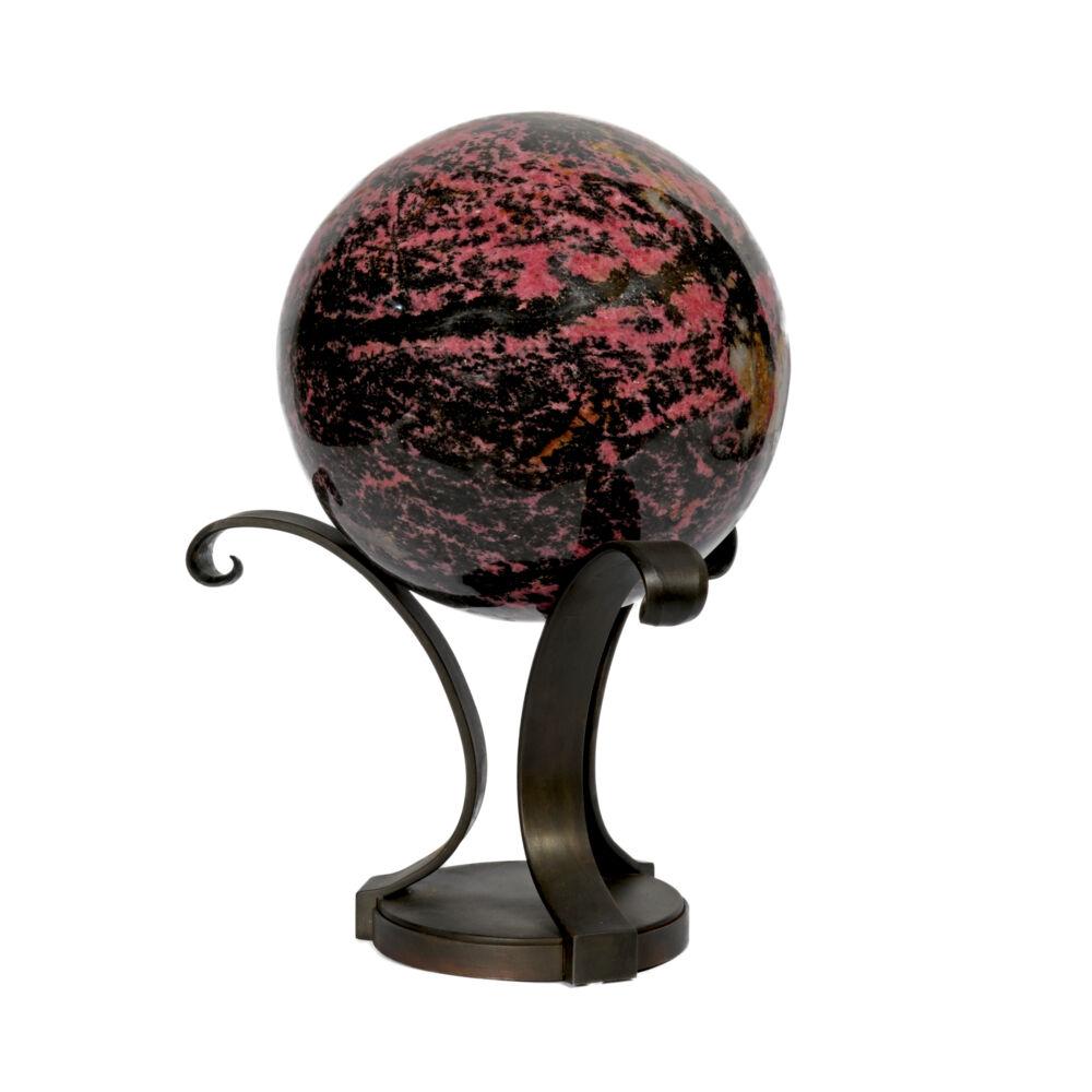 Rhodonite Sphere On Custom Metal Stand- 3 Spiral Bouquet Style