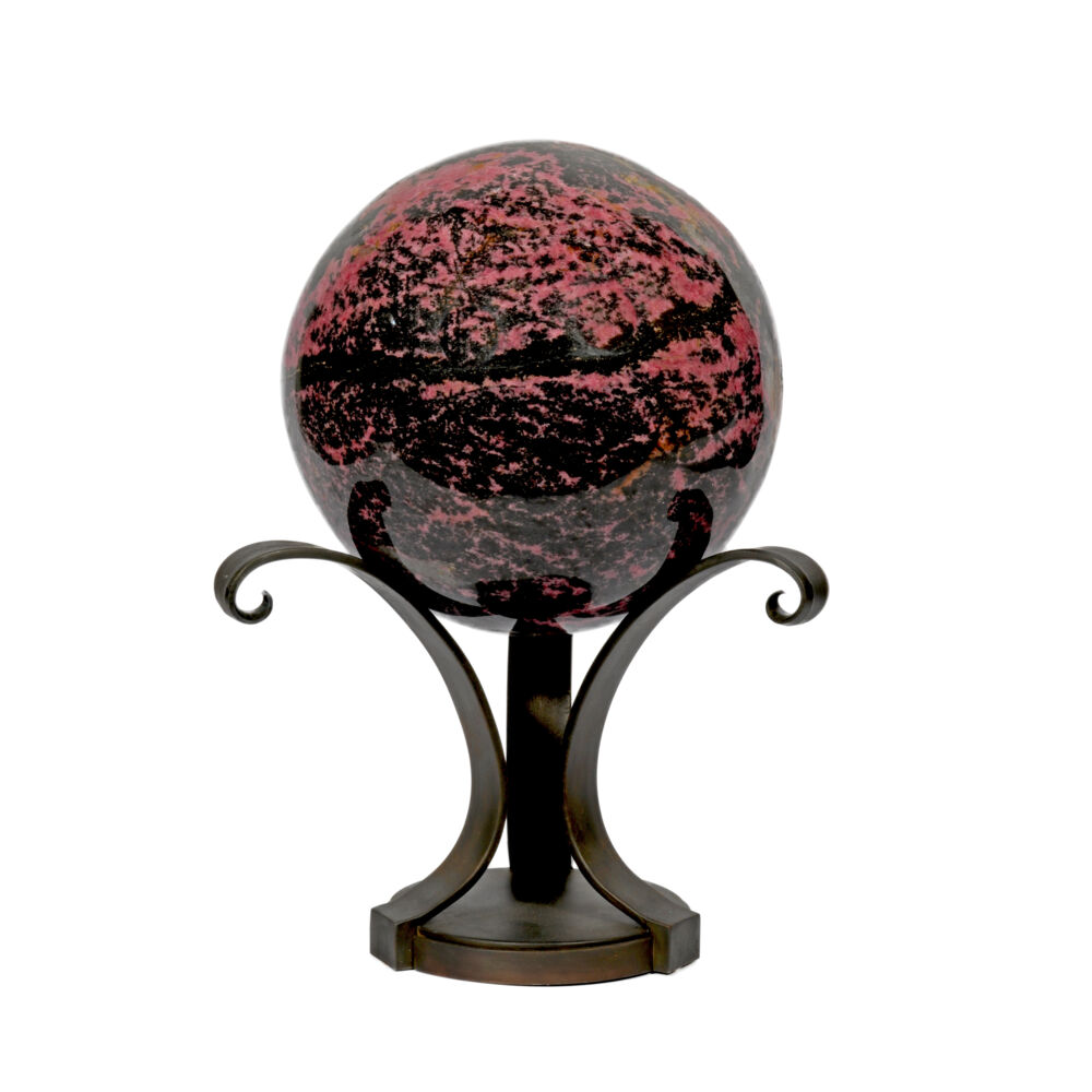 Image 2 for Rhodonite Sphere On Custom Metal Stand- 3 Spiral Bouquet Style