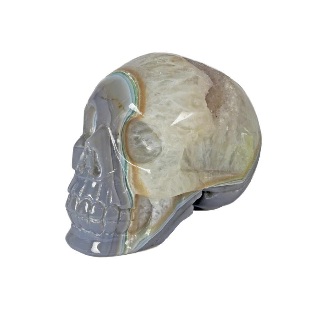 Image 2 for Agate Geode Skull Carving With Amethyst Druze