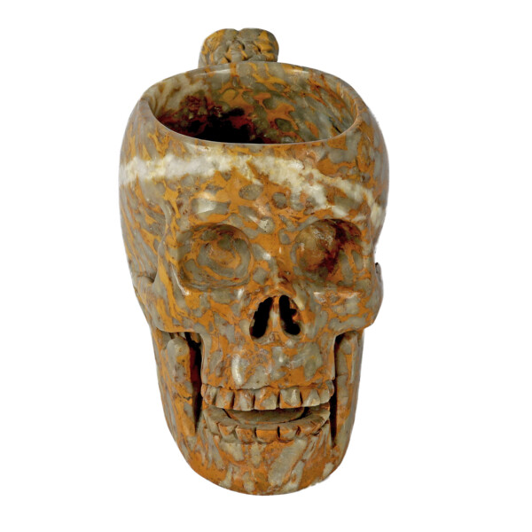 Closeup photo of Brecciated Jasper Skull Mug