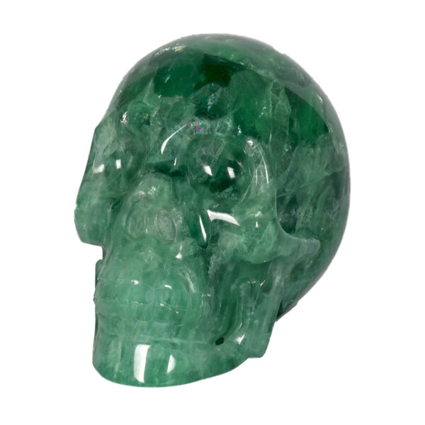 Closeup photo of Green Fluorite Skull