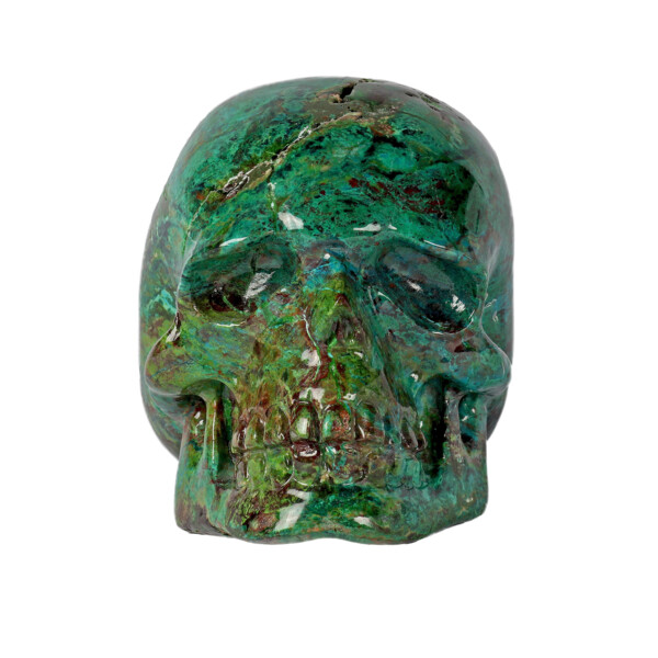 Closeup photo of Chrysocolla Malachite Carved Skull
