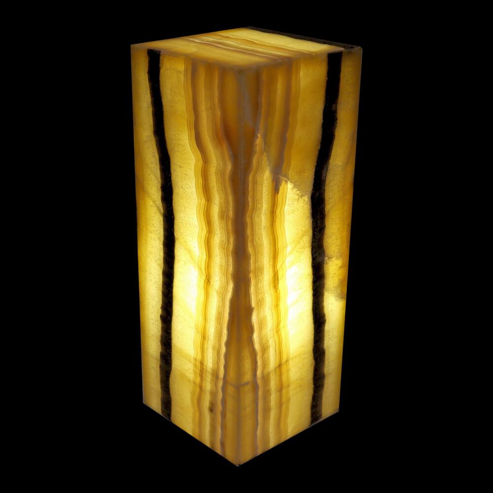 "Image 2 for Onyx Luminary - 6"" Sq X 15.5"" Yellow & Black"