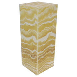"Closeup photo of Onyx Luminary - 6"" Sq. X 16"" Amber"