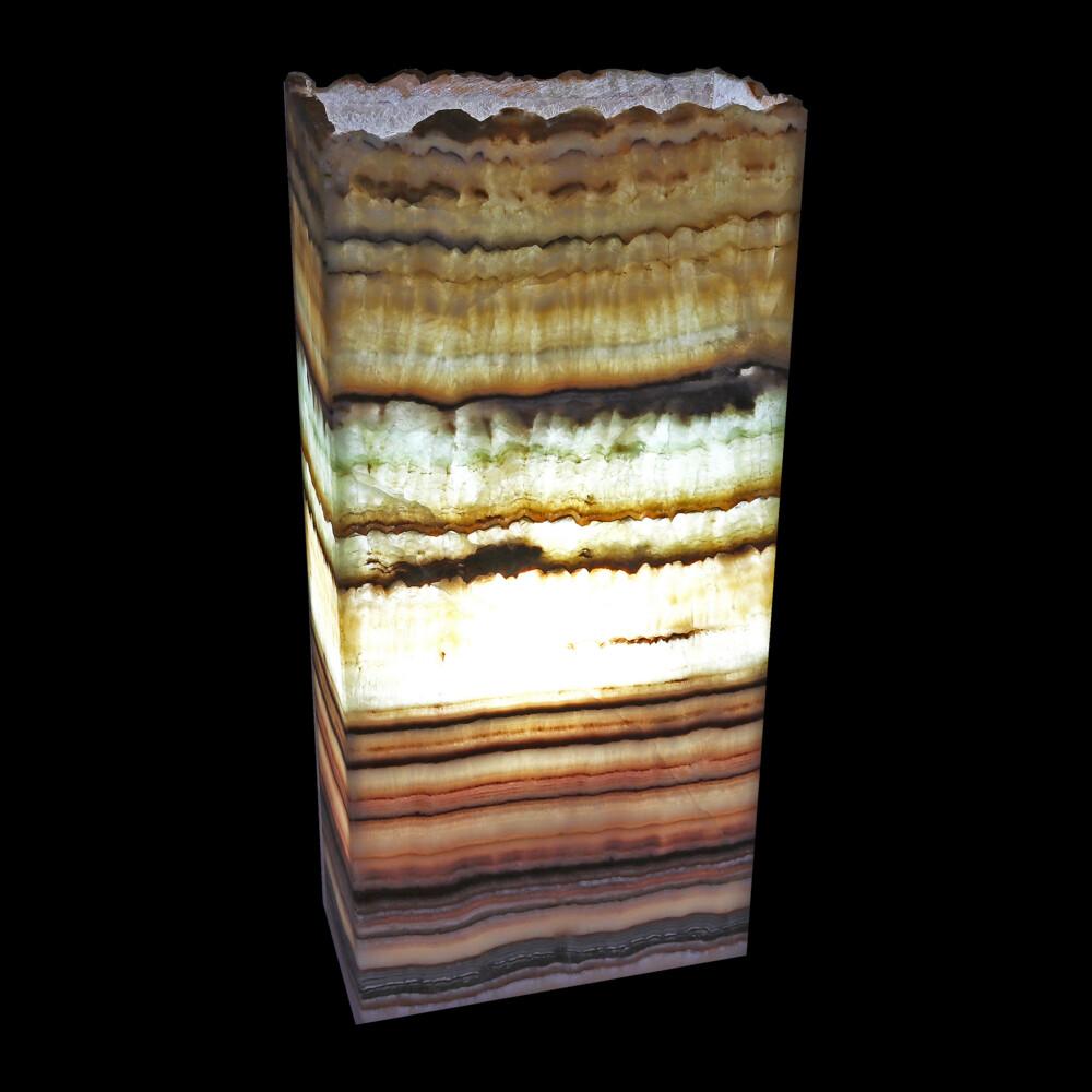 "Image 2 for Onyx Luminary - 8"" X 4"" X 17"" Tall Aqua"