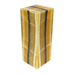 "Closeup photo of Onyx Luminary - 6"" Sq. X 16"" Yellow With Black Stripe"