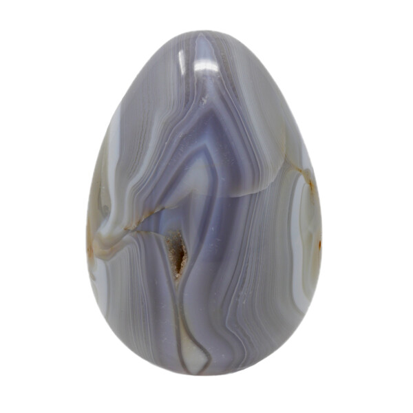 Closeup photo of Agate Egg -Light Grey With Heavy Banding & Druze Vug