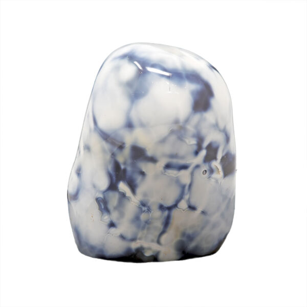 Closeup photo of Agate Freeform Polish With Round Top -Whites With Blues