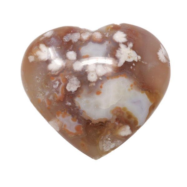 Closeup photo of Flower Agate Heart On Cluster Stand With Pink Agate And Fortified Agate Pocket