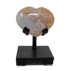 Closeup photo of Flower Agate Heart On Custom Stand With White And Pale Pink Agate