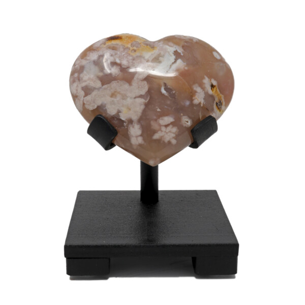 Closeup photo of Flower Agate Heart On Custom Stand With Dusty Rose Agate