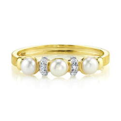 Closeup photo of Dainty Seed Pearl And Diamond Band