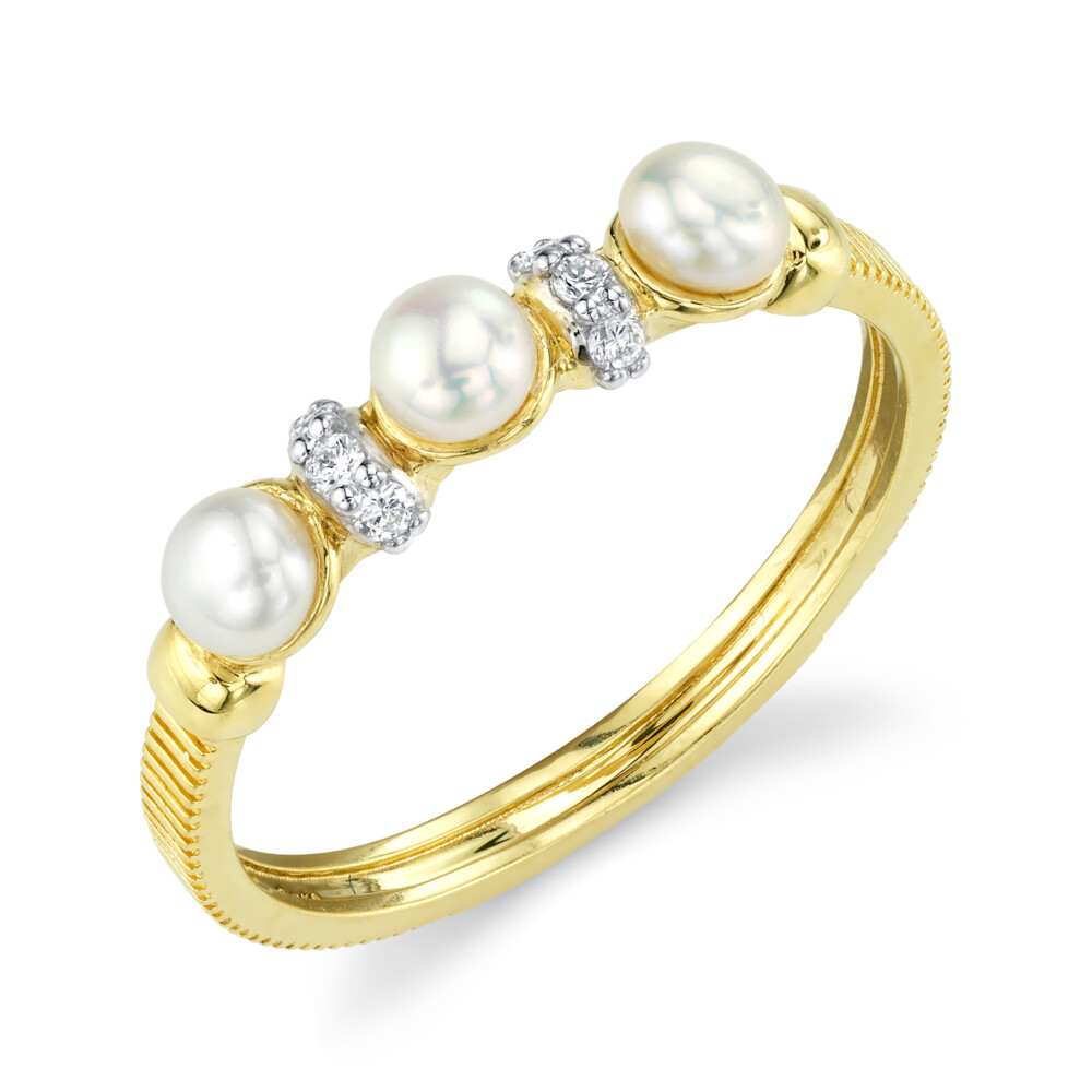 Image 2 for Dainty Seed Pearl And Diamond Band