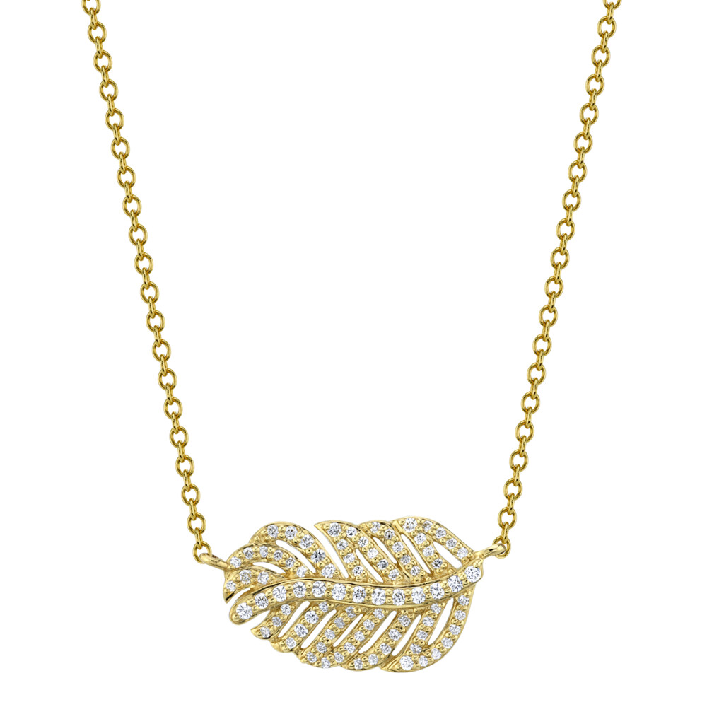 Pave Diamond Dainty Feather Pendant