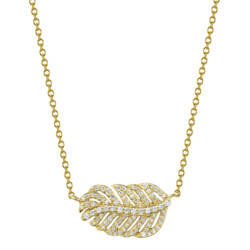 Closeup photo of Pave Diamond Dainty Feather Pendant