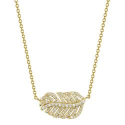 Closeup photo of Pave Diamond Dainty Feather Pendant