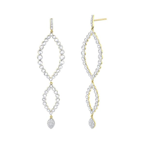 Closeup photo of Triple Marquise Rosecut Diamond Earrings