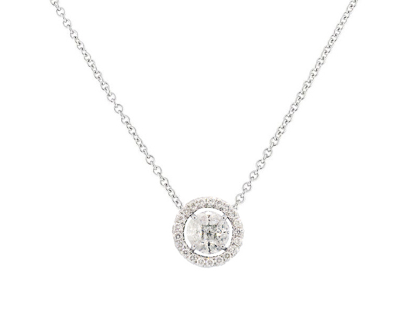 Closeup photo of Marquis Diamond Pendant With Diamond Halo