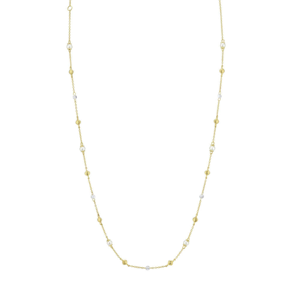 Seed Pearl And Rosecut Diamond Chain With Strie Gold Stations