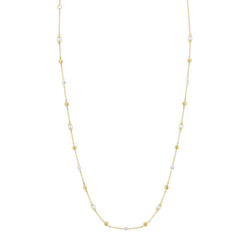 Closeup photo of Seed Pearl And Rosecut Diamond Chain With Strie Gold Stations