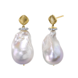 Closeup photo of Baroque Pearl Drop Earrings With Pave Diamonds