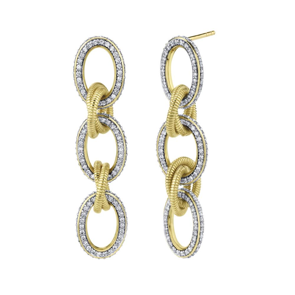 Pave Diamond Link Medium Drop Earrings