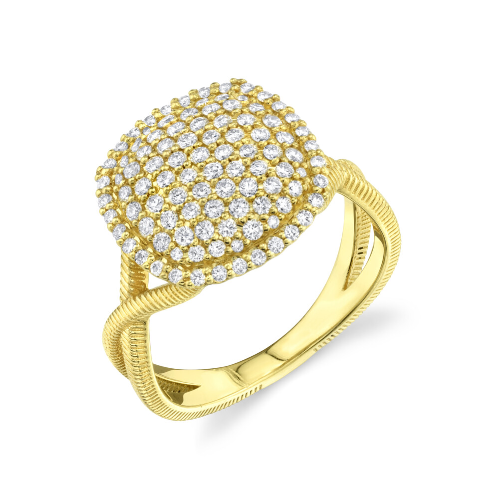 Image 2 for Pave Diamond Cushion Ring