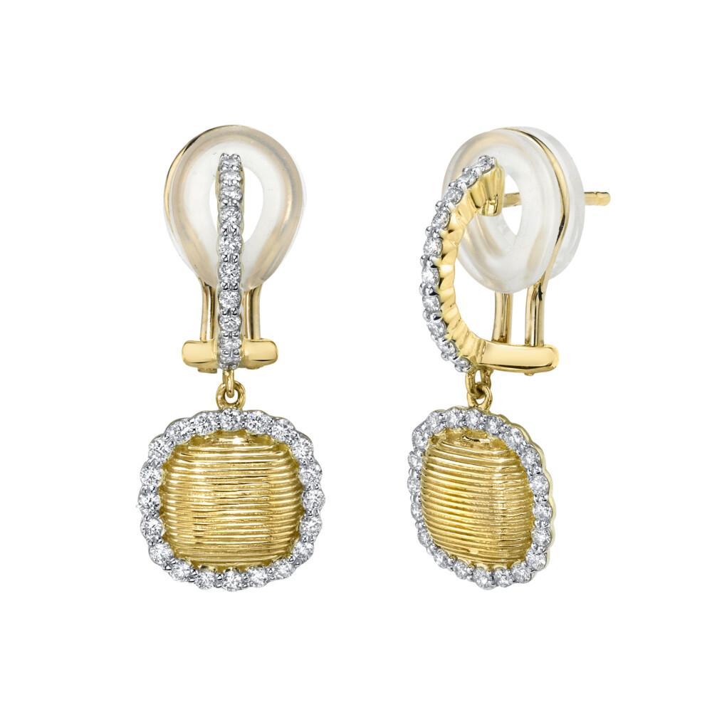 Strie Cushion Drop Earrings With Diamonds