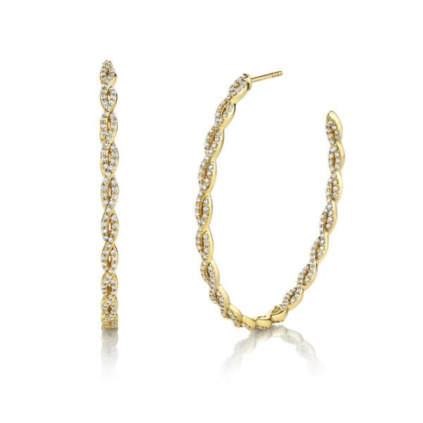 Closeup photo of Pave Diamond Braided Large Hoop Earrings