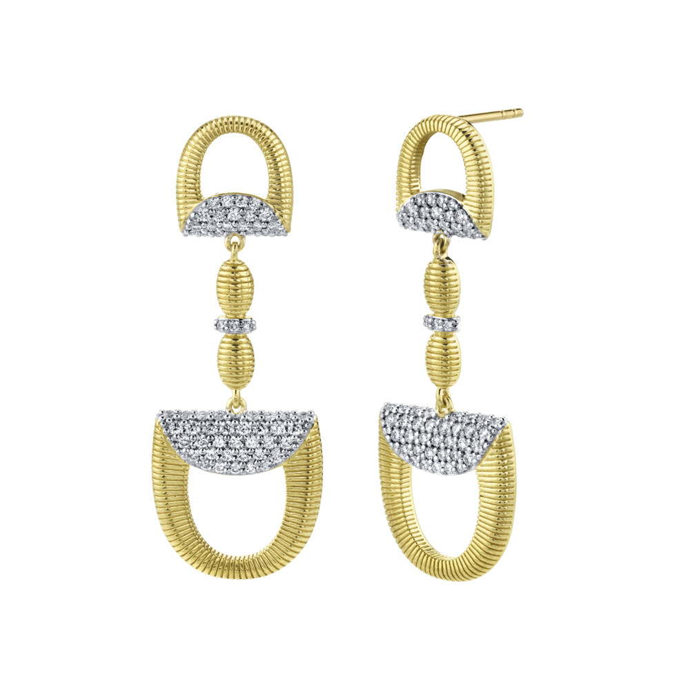 Pave Diamond Double Horse Bit Drop Earrings