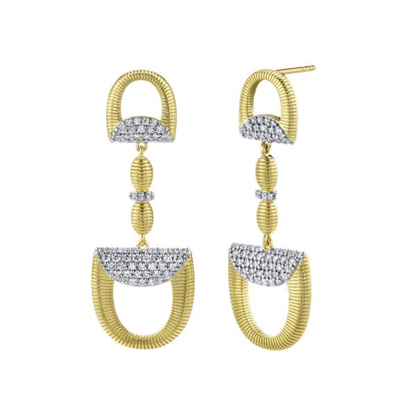 Closeup photo of Pave Diamond Double Horse Bit Drop Earrings