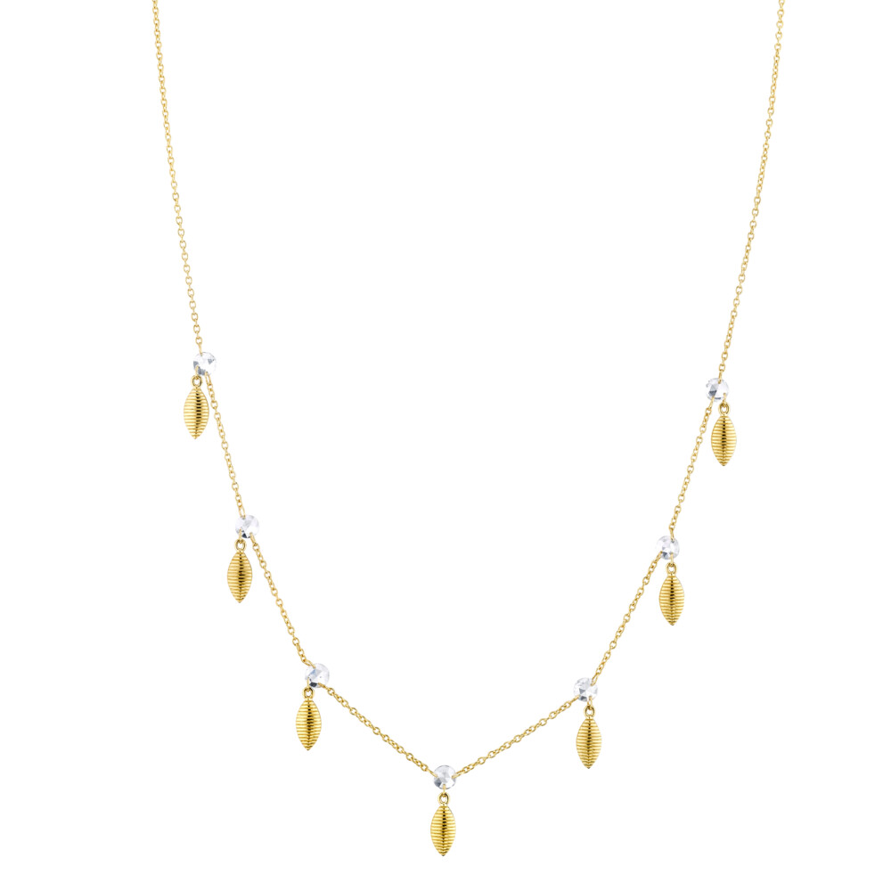 Dainty Rosecut Diamond Necklace With Hanging Marquis