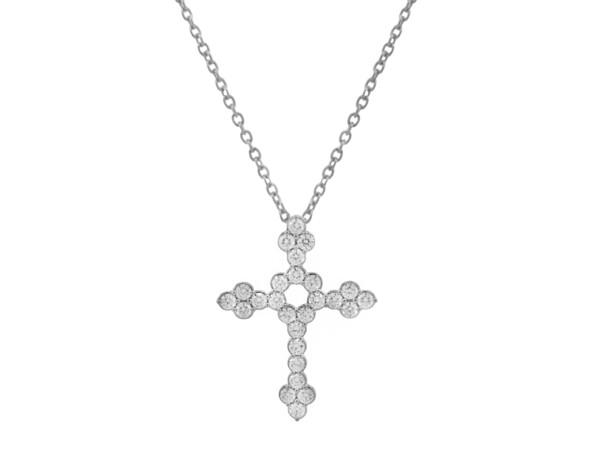 Closeup photo of Pave Diamond Medium Cross Pendant