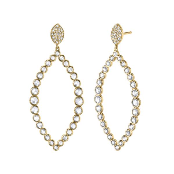 Closeup photo of Rosecut Diamond Large Marquise Drop Earrings