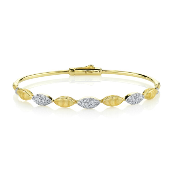 Closeup photo of Pave Diamond And Strie Marquise Bangle