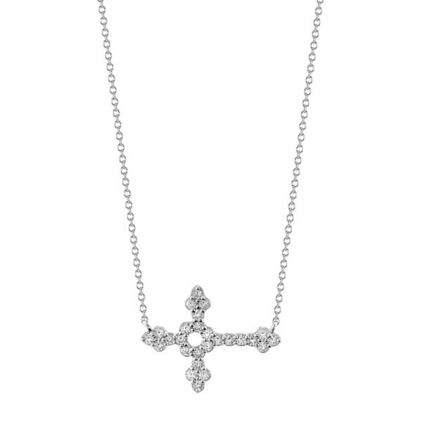 Closeup photo of Pave Diamond Medium Horizontal Cross Pendant