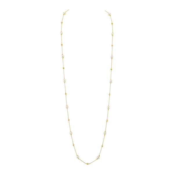 Closeup photo of Seed Pearl Chain With Strie Gold Stations