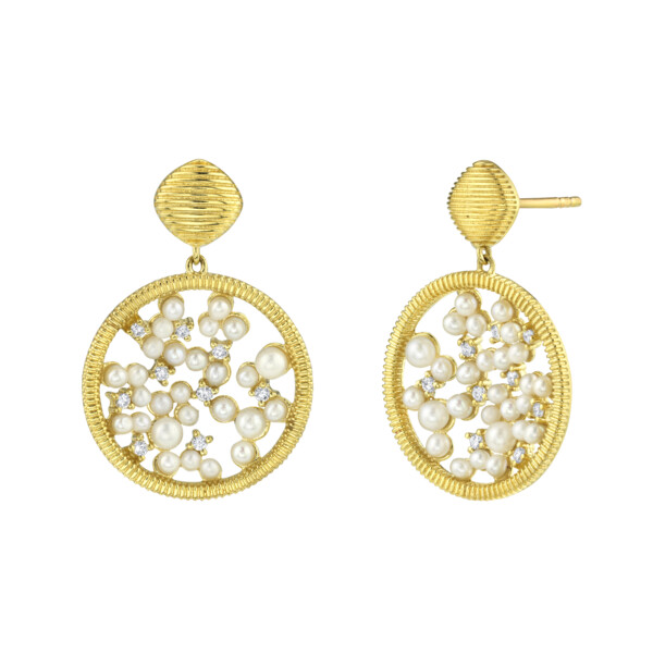 Closeup photo of Celestial Seed Pearl And Diamond Drop Earrings