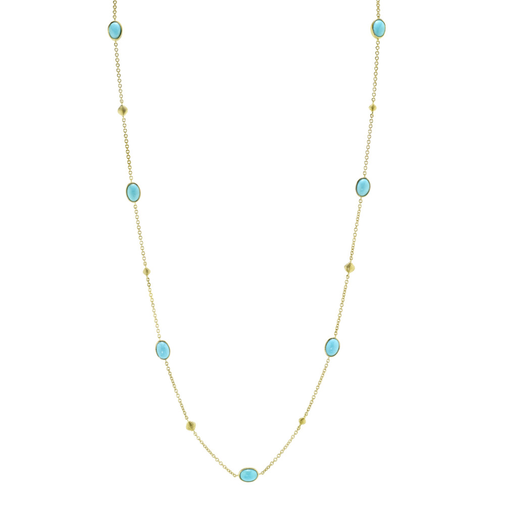 Turquoise Chain With Strie Cushion Stations