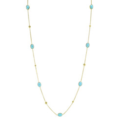 Closeup photo of Turquoise Chain With Strie Cushion Stations