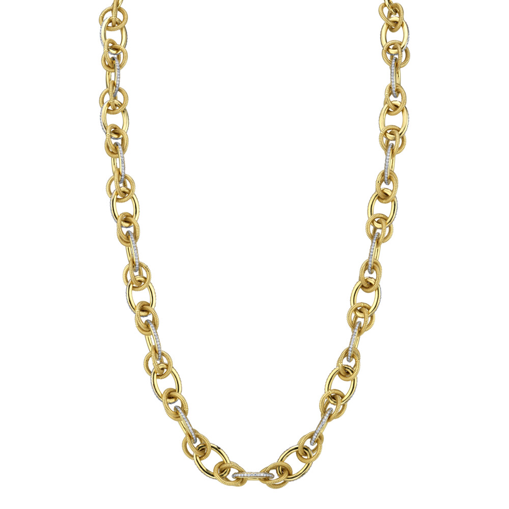 Image 2 for Pave Diamond And Strie Link Chain